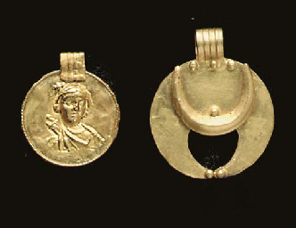 TWO ANCIENT GOLD PENDANTS