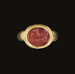A ROMAN CARNELIAN RING STONE