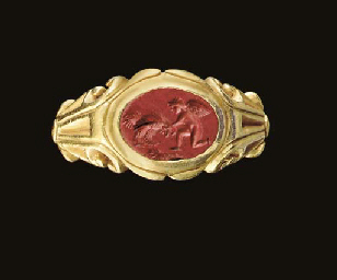 A ROMAN GOLD AND RED JASPER FI