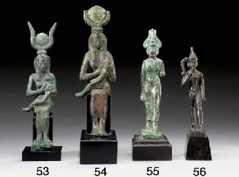 AN EGYPTIAN BRONZE GROUP OF IS