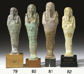 AN EGYPTIAN FAIENCE SHABTI FOR