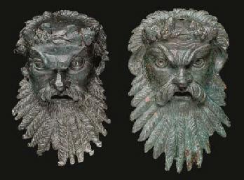 TWO ROMAN BRONZE SILENUS MASK
