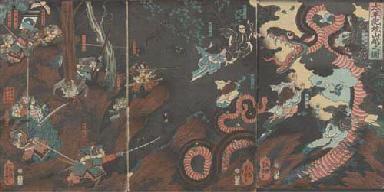 Yoshitsuya, an oban triptych