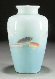 An enamel tapering vase, circa