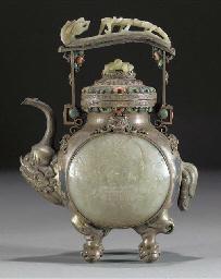 A Mongolian white metal ewer a