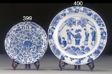 A blue and white dish, 19th ce