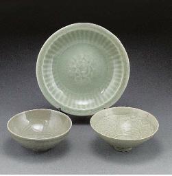 A Ming celadon glazed dish