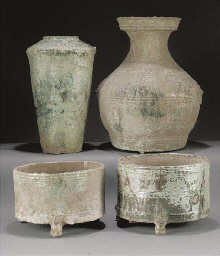 Two Han green glazed cylindric