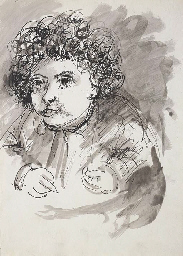 Figure with curly hair