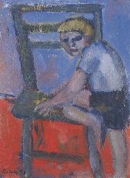 Boy Climbing onto a Chair