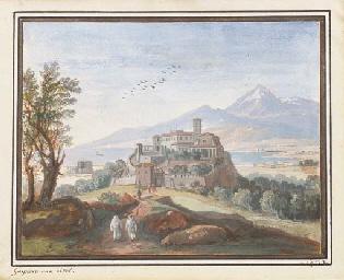 Un paysage avec une ville fort