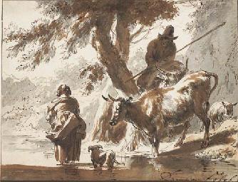 Vaches traversant un gué avec