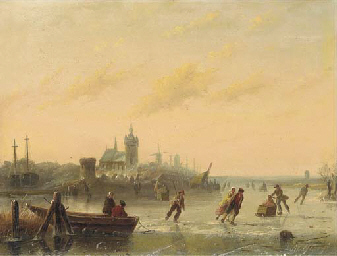 Winter Skaters on the Lake