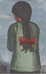 A young girl with a red bow