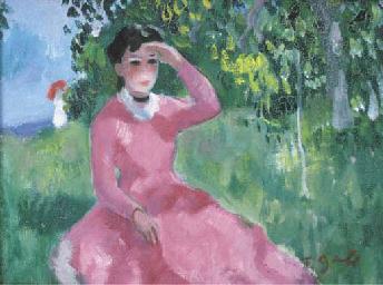 Jeune fille assise dans un cha