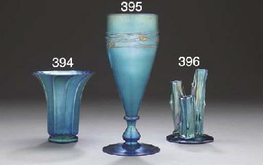 A BLUE AURENE GLASS VASE