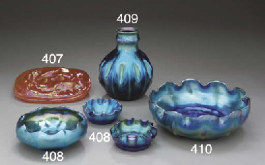 TWO BLUE FAVRILE GLASS SALTS