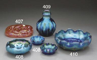 A BLUE FAVRILE GLASS VASE