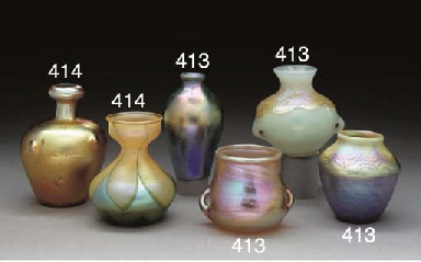 TWO FAVRILE GLASS CABINET VASE