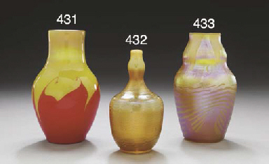 A DECORATED GOLD FAVRILE GLASS