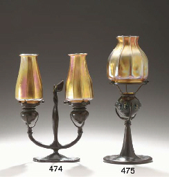 A BRONZE AND FAVRILE GLASS TWO