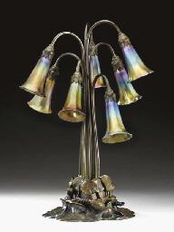 A SEVEN-LIGHT FAVRILE GLASS AN