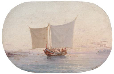 A Neapolitan vessel at sunset