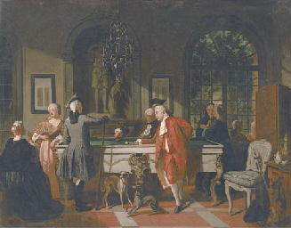 A billiards game in the 18th C