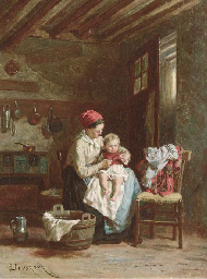 A mother and child at home