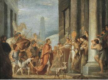 Teodosio davanti a Sant'Ambrog