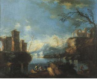 Paesaggio fluviale con astanti