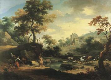 Due cavalieri presso un fiume