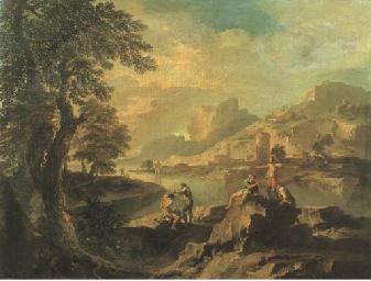 Cinque astanti in un paesaggio