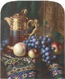 Still life of apples, a peach,