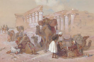 Arabs with their camels by tem