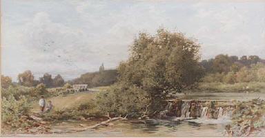 Anglers by a weir