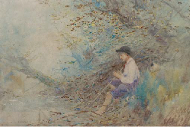 A young boy seated beside a st