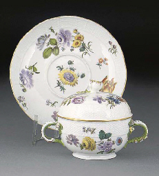 A Meissen two-handled ecuelle,