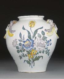 A German fayence oviform vase