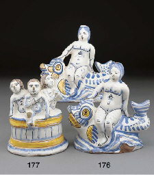 Two French faience models of p