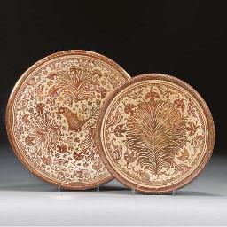 Two Hispano Moresque copper-lu