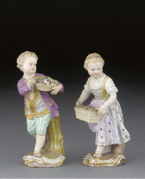 A pair of Meissen figures of f