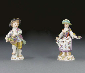 Three Meissen figures of child