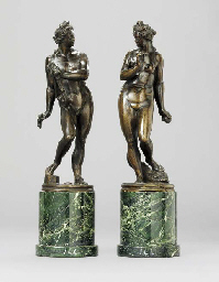 A PAIR OF BRONZE FIGURES OF AP