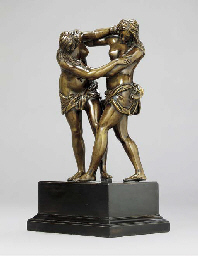 A BRONZE GROUP OF TWO WRESTLIN