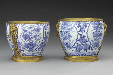 TWO FRENCH ORMOLU-MOUNTED BLUE