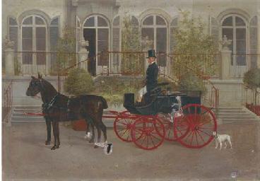 A groom preparing a carriage o