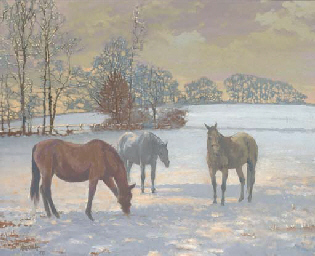 Mares in the snow