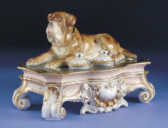 A Stadt Meissen (Teichert) porcelain inkwell mounted with a model of a recumbent mastiff, circa 1900