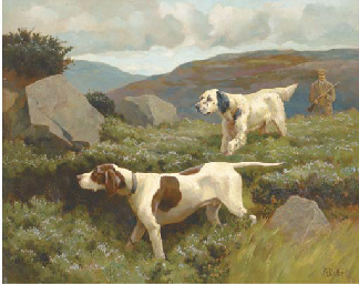 An English setter and a pointe